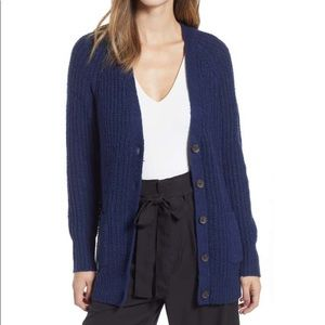 Leith Navy Blue Cozy Knit Grandpa Cardigan Sweater